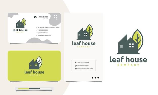 Création de logo de maison grise avec carte de visite de conception de logo de signe de feuille