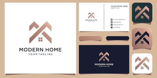 Création de logo de maison moderne pour la construction de la maison de l'immobilier de la construction de la propriété vecteur premium