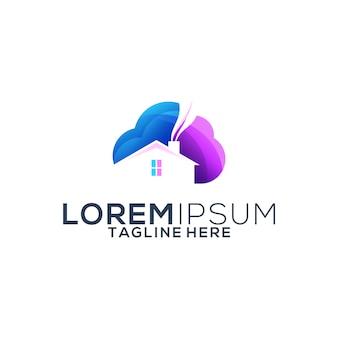 Création de logo de maison nuage coloré