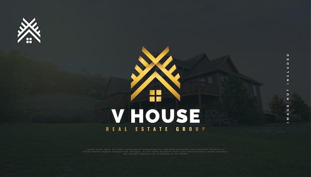 Création de logo de maison d'or avec la lettre initiale v. création de logo de construction, d'architecture ou de bâtiment