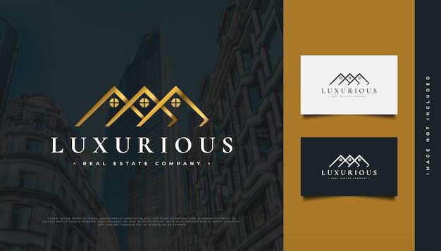 Création de logo de maison d'or de luxe pour l'identité de l'industrie immobilière. création de logo de construction, d'architecture ou de bâtiment