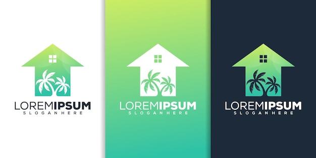 Création de logo de maison de palmier