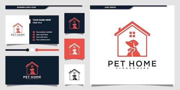 Création de logo de maison pour animaux de compagnie minimaliste avec atyle d'art de ligne à la maison créatif et carte de visite premium vekto