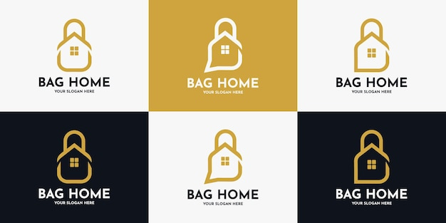 Création de logo de maison de sac, logo d'inspiration pour magasin de meubles et d'articles d'intérieur
