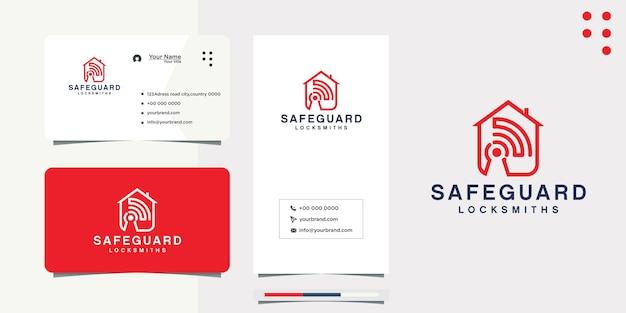 Création de logo de maison de signal internet et carte de visite