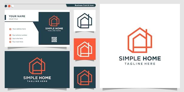 Création de logo maison simple avec concept d'art en ligne vecteur premium