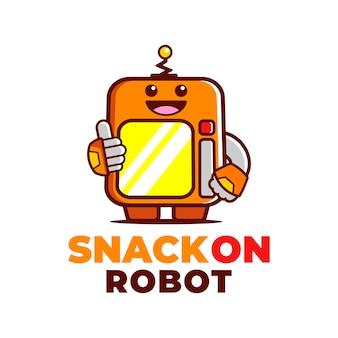 Création de logo de mascotte amusante robot machine