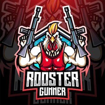 Création de logo de mascotte d'artilleur de coq
