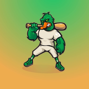 Création de logo de mascotte de canard avec style concept illustration moderne. canard porte un bâton de baseball