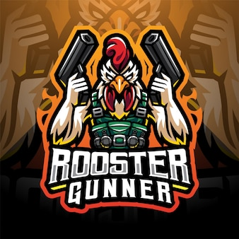 Création de logo mascotte coq gunner