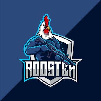 Création de logo de mascotte de coq avec pistolet esport