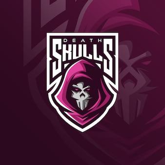Création de logo de mascotte de crâne avec un style de concept d'illustration moderne pour l'impression de badge, emblème et t-shirt.