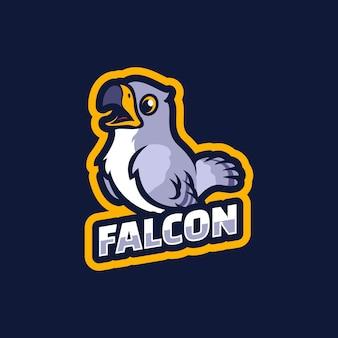 Création de logo de mascotte de dessin animé de faucon