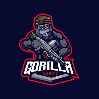 Création de logo de mascotte de dessin animé gorille