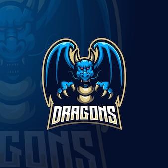 Création de logo de mascotte dragon en colère
