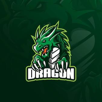 Création de logo de mascotte de dragon avec un style de concept d'illustration moderne pour l'impression de badge, emblème et tshirt.
