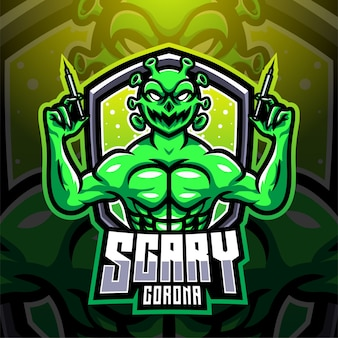 Création de logo mascotte effrayant corona esport