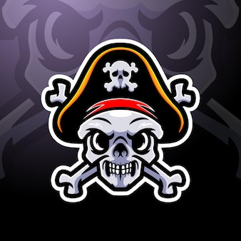 Création de logo de mascotte esport crâne de pirate