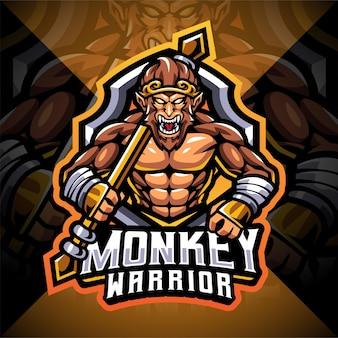 Création de logo de mascotte d'esport de guerrier de singe