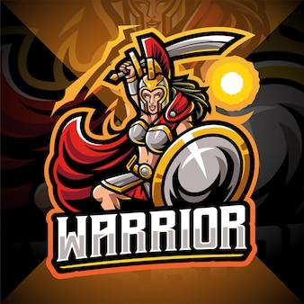 Création de logo de mascotte esport guerrière