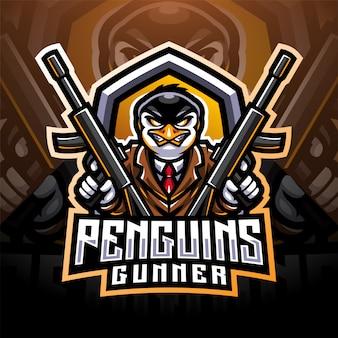 Création de logo de mascotte esport gunner pingouin