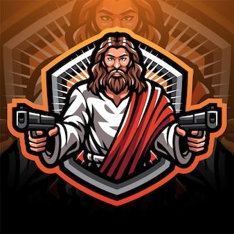 Création de logo de mascotte esport jesus gunner