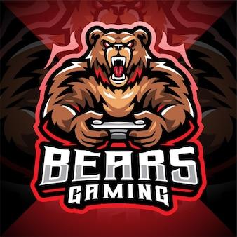 Création de logo de mascotte d'esport de jeu d'ours
