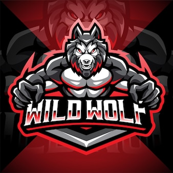 Création de logo de mascotte esport loup sauvage