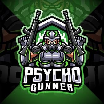 Création de logo de mascotte esport psycho gunner