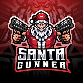 Création de logo de mascotte esport santa gunner