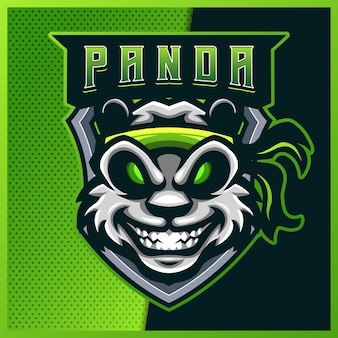 Création de logo de mascotte esport et sport kungfu panda