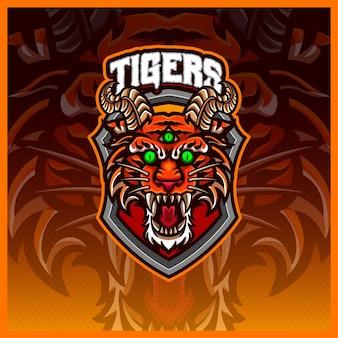 Création de logo de mascotte esport et sport de tigres fous avec un concept d'illustration moderne pour l'emblème d'insigne d'équipe et l'impression de t-shirts illustration de tigres de l'enfer fou sur un style de dessin animé de couleur de fond isolé