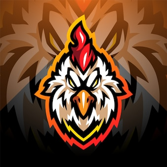 Création de logo de mascotte esport tête de coq