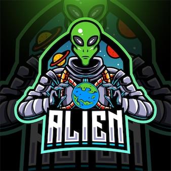 Création de logo de mascotte extraterrestre esport