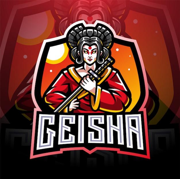 Création de logo de mascotte geisha esport