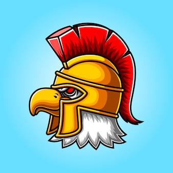 Création de logo de mascotte de gladiateur de tête d'aigle