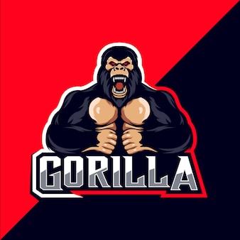 Création de logo de mascotte de gorille en colère