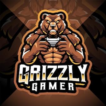 Création de logo de mascotte grizzly gamer esport