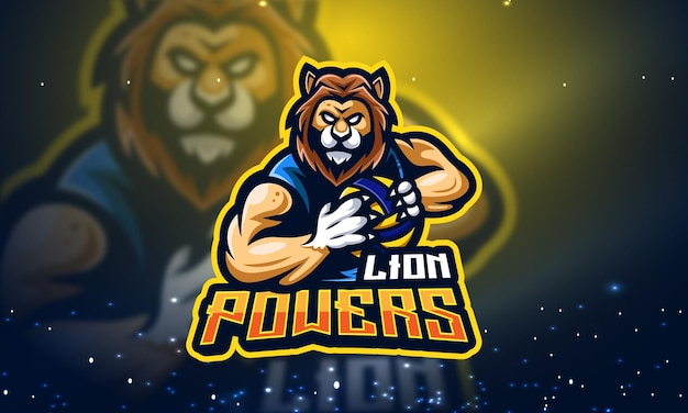 Création de logo de mascotte lion power esport