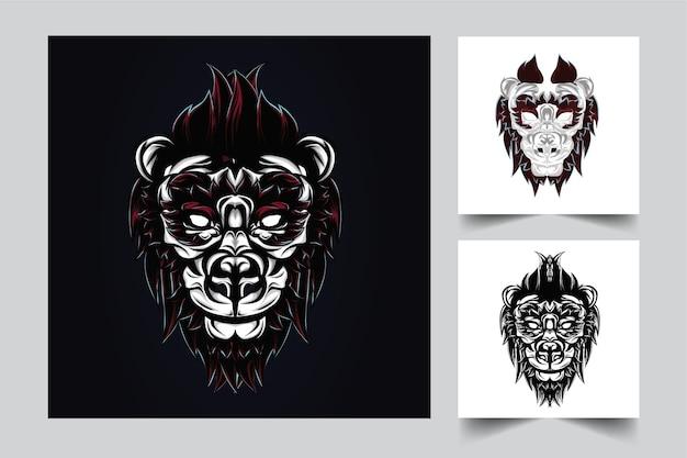 Création de logo de mascotte de lion avec un style de concept d'illustration moderne pour budge