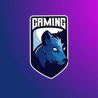 Création de logo de mascotte de loup avec un style de concept d'illustration moderne pour les jeux