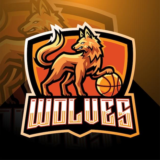 Création de logo de mascotte de loups esport