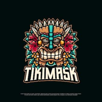 Création de logo de mascotte masque tiki