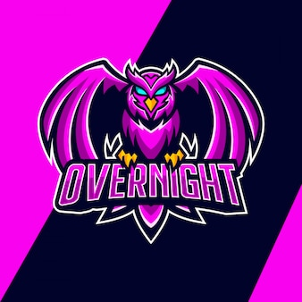 Création de logo de mascotte de nuit hibou