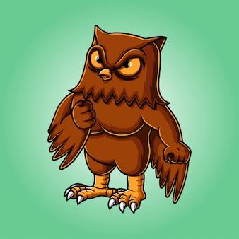 Création de logo de mascotte oiseau hibou en colère