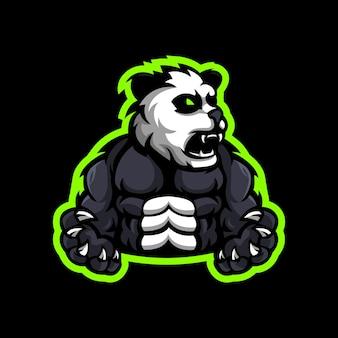 Création de logo de mascotte panda musclé