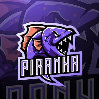 Création de logo de mascotte piranha esport