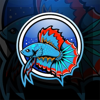 Création de logo de mascotte de poisson betta esport