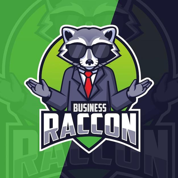 Création de logo de mascotte de raton laveur d'affaires