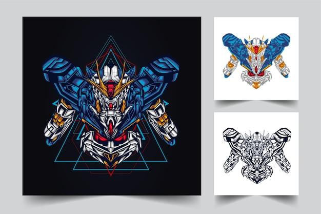 Création de logo de mascotte robotique gundam avec style concept illustration moderne pour budge, emblème